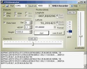 GPS Simulator zur Ausgabe von NMEA Strings für die Satelliten Navigation